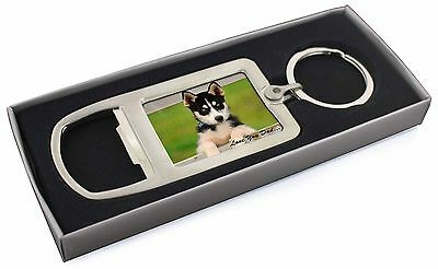 Husky Pup 'Love You Dad' Chrome Metal Bottle Opener Keyring in Box Gi, DAD-56MBO