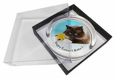 Personalised Name Birman Cat Glass Paperweight in Gift Box Christmas, AC-45DA2PW