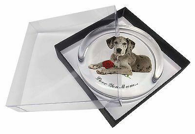 Great Dane+Rose 'Love You Mum' Glass Paperweight in Gift Box Chris, AD-GD2RlymPW