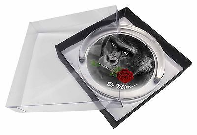'Be Mine' Gorilla with Red Rose Glass Paperweight in Gift Box Christma, AM-10RPW