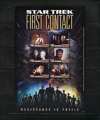 Gambia   Star Trek  First Contact Sheet Of Six  Mint Nh