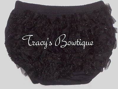 Baby Toddler Newborn Black Cotton Chiffon Ruffle Panty Bloomers Diaper Covers