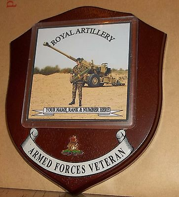 Royal Artillery Veteran Wall Plaque with name, rank & number free.