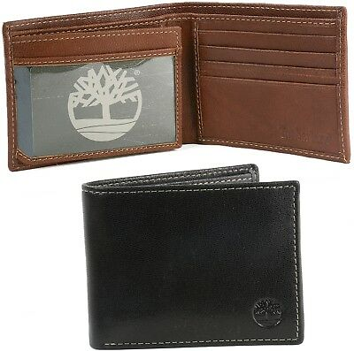 Timberland Men's Wallet Leather Bifold ID Flip Commuter Passcase Billfold Holder