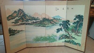 Vintage Painted Chinese Japanese Asian Folding 4 Panel Fireplace Screen SIGNED