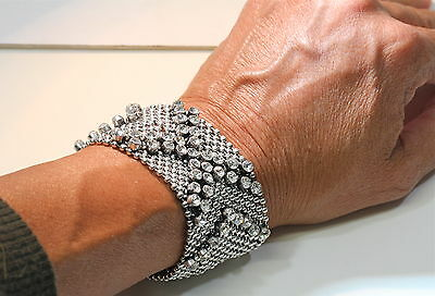 eli k Womens ANTIQUE SILVER PLATE SHOT BEAD & CRYSTALS X SNAP BRACELET