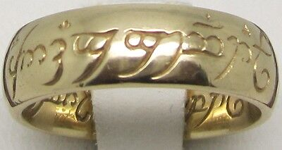 9Ct Yellow Gold Lord Of The Rings Elvish Rune Inscription - The One Ring - Lotr