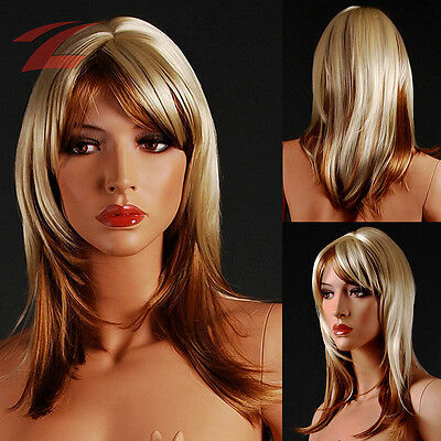 ZNL Femme Perruque Féminin Longue Blond Cheveux Wig Cosplay Costume