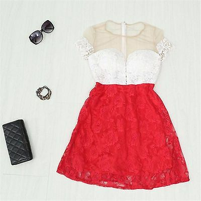 Sexy Women Dress Summer Floral Lace Sleeveless Evening Party Casual Mini Dress
