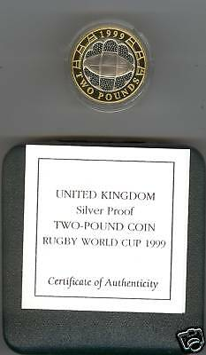 1999 Boxed Standard Silver Proof £2 Rugby