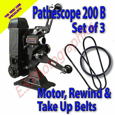 PATHESCOPE 200B 9.5mm Cine Projector Belt Set (Motor, Rewind & Take Up)