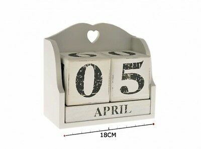Gorgeous White Wooden Perpetual Calendar Block With Country Heart Design