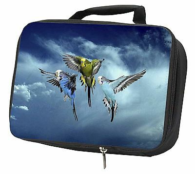 Budgies in Flight Black Insulated Lunch Box, AB-96LBB