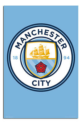 Manchester City Football Club Crest Poster New - Maxi Size 36 x 24 Inch