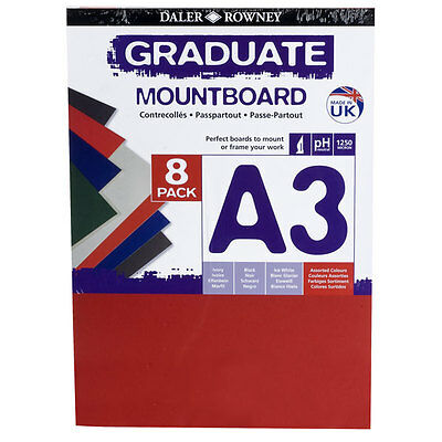 Daler Rowney Graduate A3 Assorted Colour Mount Board 8 Sheets Mounting Frame