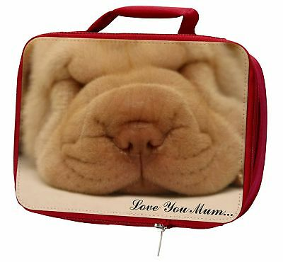 Shar-Pei Puppy 'Love You Mum' Insulated Red Lunch Box, AD-90lymLBR