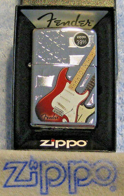 ZIPPO  MUSIC Lighter FENDER  GUITAR Stars & Stripes Background MINT in Box NOS