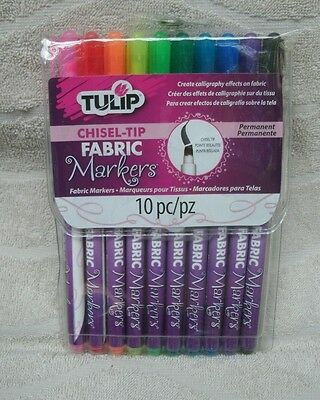 Tulip® Chisel Tip Fabric Markers 10pk ~ New