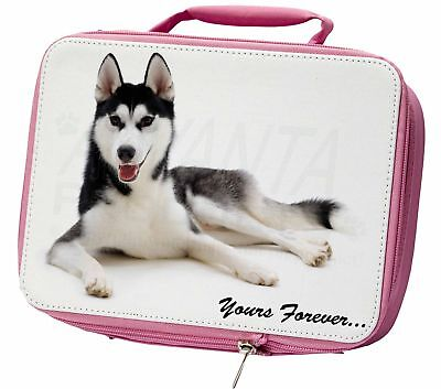 Siberian Husky 'Yours Forever' Insulated Pink School Lunch Box Bag, AD-H55yLBP