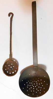 Lot of 2 Unique Vintage Metal Large Slotted Ladel and Cast Iron Spoon