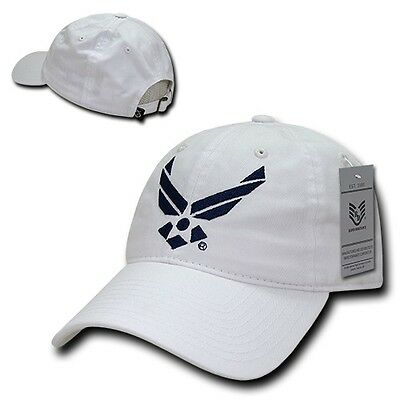 ff2fb4c1a0a White United States USAF Air Force Wing Cotton Polo Military Baseball Cap  Hat