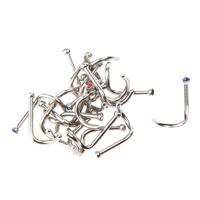 20pcs Colorful Rhinestone Stainless Steel Curved Nose Studs Piercing Jewelry