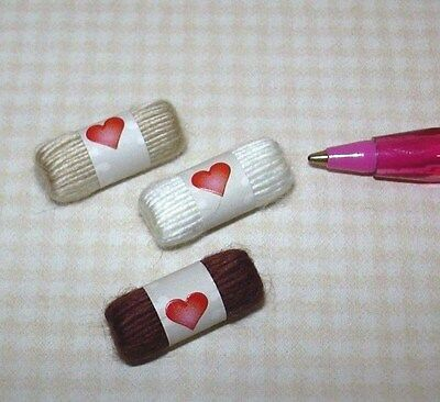 Miniature Skeins of Yarn, 3 Shades of BROWN: DOLLHOUSE Miniatures 1/12 Scale