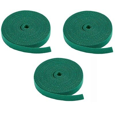 7.5 Metre - 3 Rolls Hook and Loop Tie Tape Plant Shrub Garden Sewing Green Strap