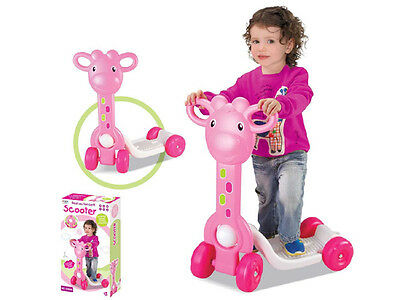 Childrens Kids Girls Pink Giraffe 'my First Scooter' Ride On Toy 1003A