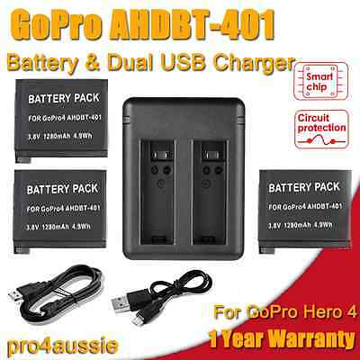 3 x AHDBT-401 Battery + USB Charger For GoPro Hero 4 Go Pro Hero4 Accessories AU