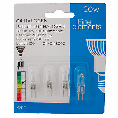 Halogen Light Bulbs Fine Elements Clear Bright 20w 2pin 9x30mm G4 Pack of 4