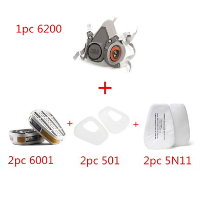 Half Face Dust Mask Respirator Gas Safety Painting Spraying Facepiece  6200 N95