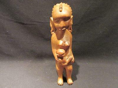 "African Nude Woman & Child Mid-Century 8"" Wooden Tribal Carving Light Wood"