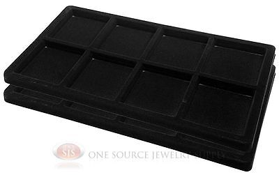 2 Black Insert Tray Liners W/ 8 Compartments Drawer Organizer Jewelry Displays