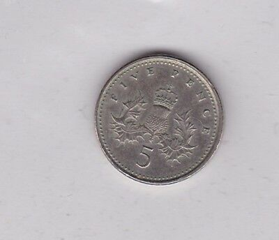 1998 Unusual Error Five Pence Coin In Near Mint Condition