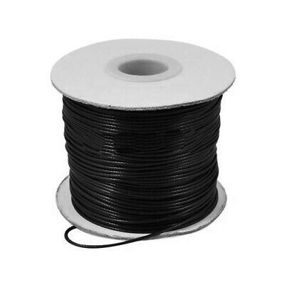 1 x Black Waxed Polyester 10m x 1mm Thong Cord Continuous Length HA07320