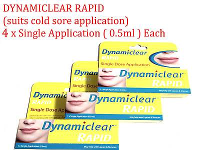 4 x Single Application ( 0.5ml ) DYNAMICLEAR RAPID (suits cold sore application)
