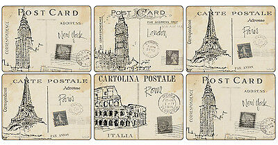 Pimpernel Postcard Sketches Set of 6 Placemats Table Mats 30.5 x 23cm Dining New
