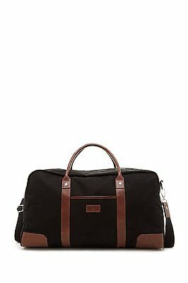 """New Trafalgar Flight Carry-On 20"""" Canvas & Leather Duffel With Strap Blk/Toffee"""