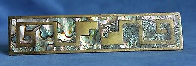 Vintage Los Castillo Mid Century Abalone Inlay Door Drawer Pull Handle Mexico
