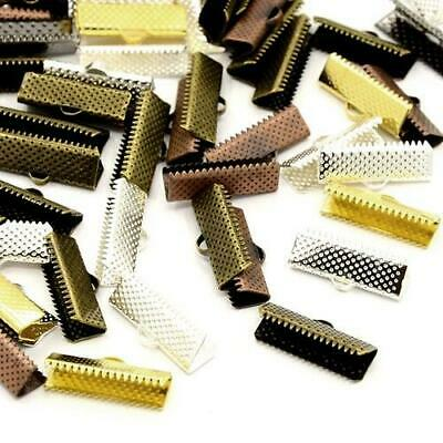 Packet of 20 x Mixed Plated Iron 8 x 25mm Ribbon Ends/Clamps HA13075
