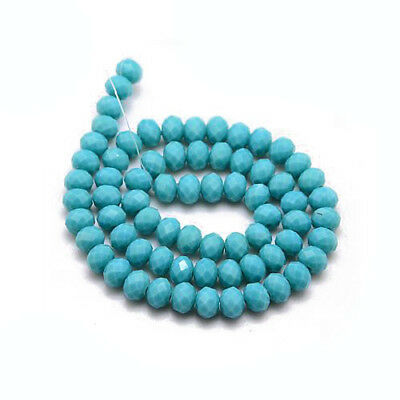 80+ Turquoise Czech Crystal Opaque Glass 4 x 6mm Faceted Rondelle Beads HA20930