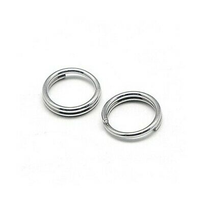 Packet 110+ Silver Stainless Steel Round Split Rings 0.6 x 8mm Y00895