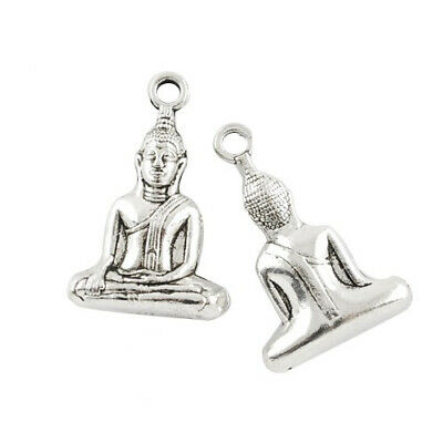 Buddha Charm/Pendant Tibetan Antique Silver 36mm  3 Charms Accessory Jewellery
