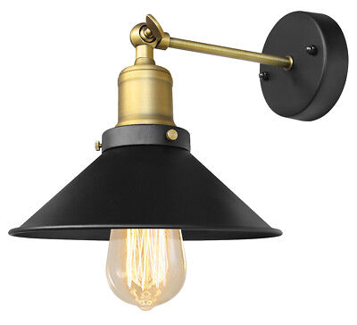 Modern Vintage Industrial Antique Brass Black Scone Wall Light Lamp Shade WD025