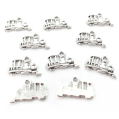 Packet of 10 x Antique Silver Tibetan 15mm Charms Pendants (Train) ZX00190