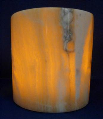 """Egyptian Alabaster Candle Holder E Translucent Marble NEW 5"""" x 4.5"""" Natural Gift"""