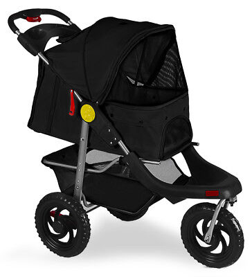 Pet Stroller Cat Dog 3-Wheel Walk Jogger Travel Folding Carrier Deluxe Black