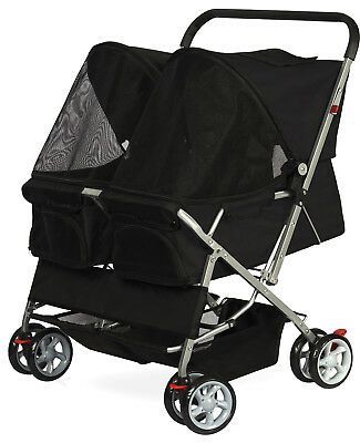 OxGord Pet Stroller Cat Dog 4-Wheel DOUBLE TWIN Walk Travel Folding Carrier
