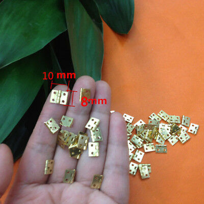 Copper 20pcs 8*10mm Brushed Brass Mini Hinge Small Jewelry Cigar Box Hinges